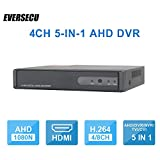 4CH 1080P Lite 5-in-1 HD Analog Hybrid DVR&NVR Support 1080P IP Camera+1080P AHD/TVI/CVI Camera and 960H Analog Camera Standalone DVR CCTV Surveillance Security System Video Recorder (No HDD)