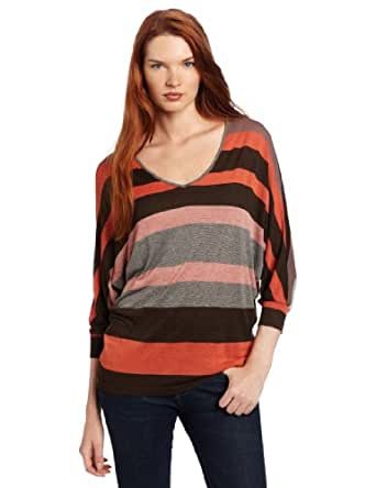 KUT from the Kloth Women's Noemi V-neck Top, Brown, Small