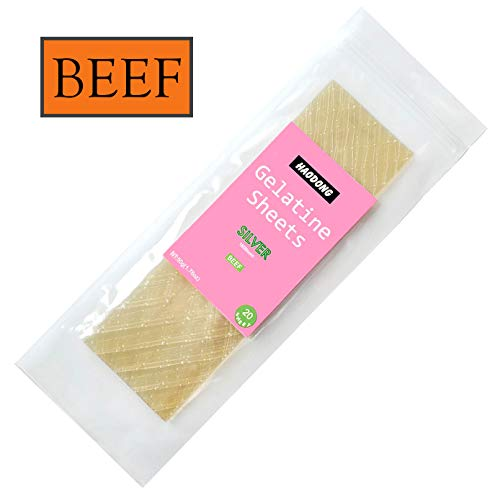 (Haodong Unflavored Beef Silver Leaf Gelatin Sheets - 180 Bloom (20 Sheets, 50g))