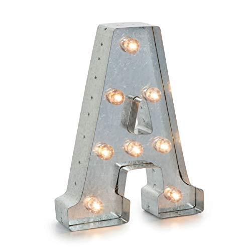 Darice Silver Metal Marquee Letter A - Industrial, Vintage Style Light Up Letter Includes an On/Off Switch, Perfect for Events or Home Décor (5915-702)
