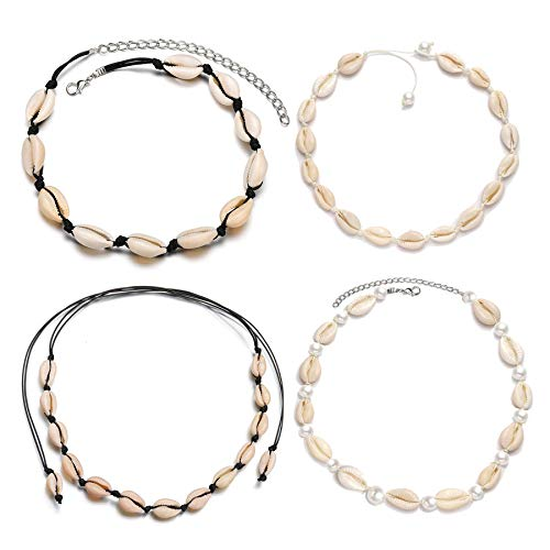 ATIMIGO Natural Shell Choker Handmade Rope Pearl Hawaii Beach Necklace Jewelry for Women Girls 4 Pack