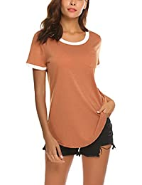 Women's Summer Basic Short Sleeve Tops Casual Loose Cotton T-Shirts with Pocket