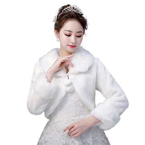 Bridal Stock Jacket - Funnmart Long Sleeve Bridal Winter Faux Fur Jackets Wedding Coak Warm Scarf Bridal Shawl Scarfs in Stock