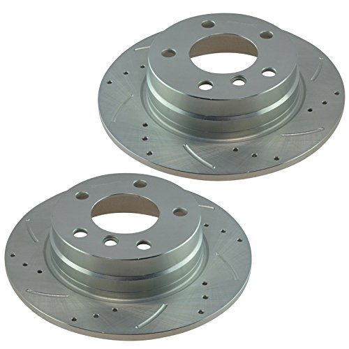 Performance Brake Rotor Drilled & Slotted Zinc Coated Rear Pair for BMW