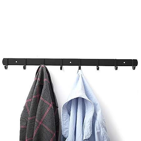 Perchas de Acero Inoxidable Engrosado Negro 4 Hook Perchero Pared Ganchos Percheros de Pared de Montaje para Dormitorio Ba/ño y Cocina