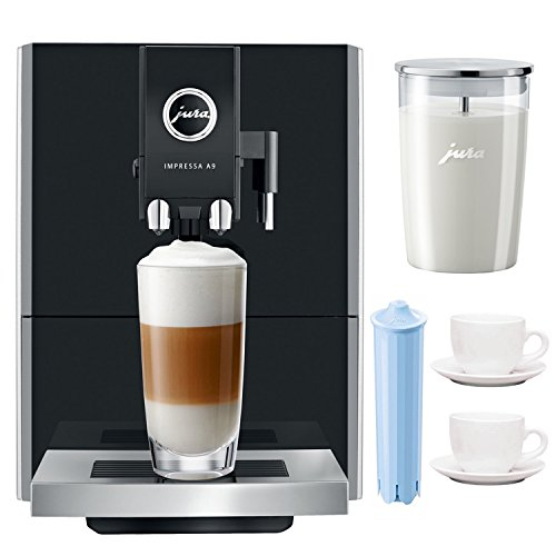 Jura Impressa A9 P.E.P One-Touch Automatic Espresso Machine Includes Glass Milk Container, Espresso Cup and Saucer and Filter Cartridge (Certified Refurbished)