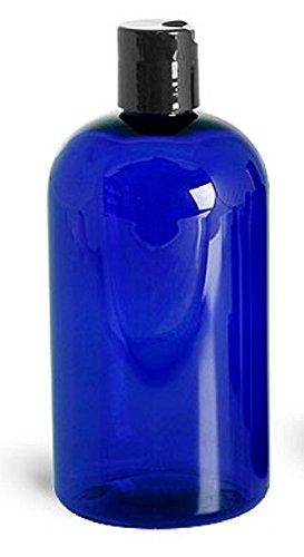 1c6c110dee7a BLUE PLASTIC REFILLABLE BOTTLES, 16 OZ, Black HAND-PRESS FLIP DISC CAPS,  ORGANIZE Soap, Shampoo, Lotion with a Clean, Clear Look - PET, Lightweight,  ...