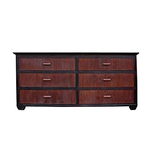 - Oriental Bamboo Accent 6 Drawers Console Sideboard Table Cabinet Acs4940