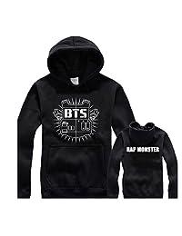 Fanstown BTS bangtan boy logo black hoodie sweater J-HOPE Jinmin V Rap monster