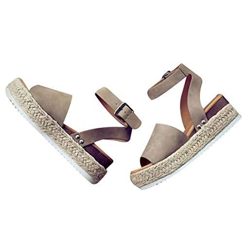 Miuniu Women Summer Non-Slip Fish Mouth Solid Wedge Heel Sandals Shoes Flats Khaki