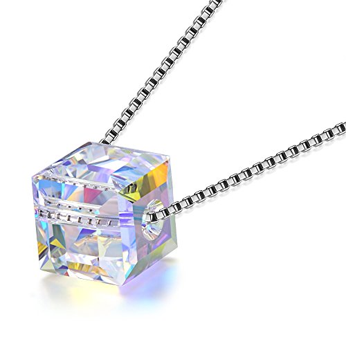 (O'COCOLOUR Mother's Day Gifts for Mom Wife Necklace Fine Jewelry Love Cube 925 Sterling Silver Pendant Swarovski Crystal Necklace Birthstone Birthday Gifts for Teen Girl Her Sister Girlfriend)