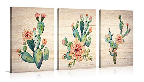 YPY 3 Panel Watercolor Cactus Wall Art Modern Abstract Wooden Texture Artwork for Living Room Decor (Cactus, ()