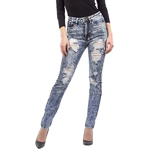 new Machine Jeans Women's Distressed High Waisted Skinny Jeans ...