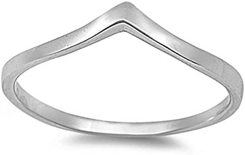 Sterling Silver V-Shape Chevron Stackable Thumb Ring Fashion Ring 3-13