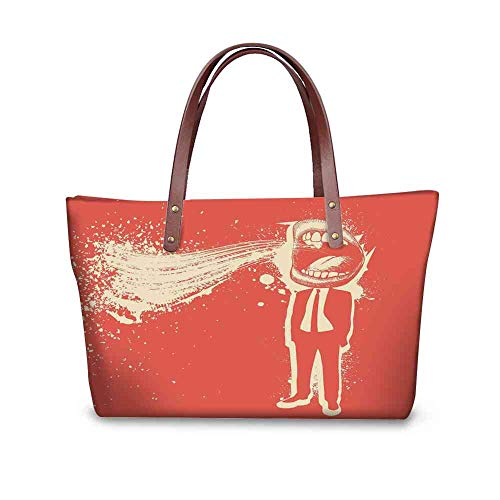 - Custom Handbag Tote Shopping Bags Funny,Trippy Man Screaming Big Mouth Mad Man in Suits Work Life Boss Quirky Artistic Graphic,Red Cream Printing Purse Backpack For Women Anti Theft