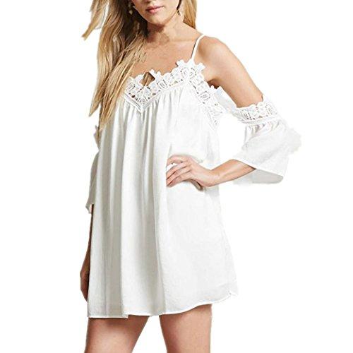 Kleider Damen Bekleidung Longra Frauen Sommerkleid festes Chiffon ...