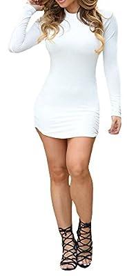 Ermonn Women's Fashion Sexy Bodycon Bandage Party Club Dress Long Sleeve Black White