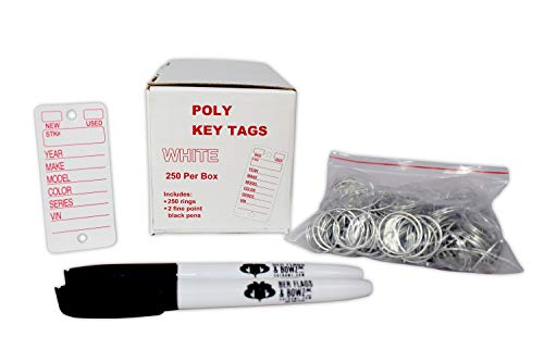 Poly Key Tags, White, 250 per Box with Rings and Pens