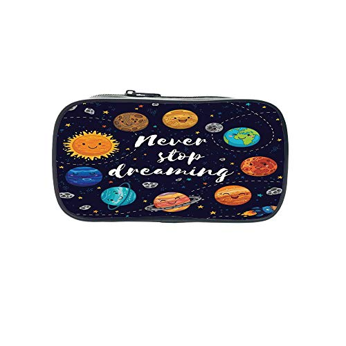 Personal Tailor Pen Bag,Quote,Outer Space Planets and Star Cluster Solar System Moon and Comets Sun Cosmos Illustration,Multi,for Students,Comfortable Design by iPrint