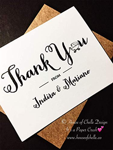 Baby Shower Thank You Cards - Baby Shower Thank You Notes - Personalized Stationery/Stationary - BABY CARRIAGE LETTER - Set of 12 Note Cards with Envelopes