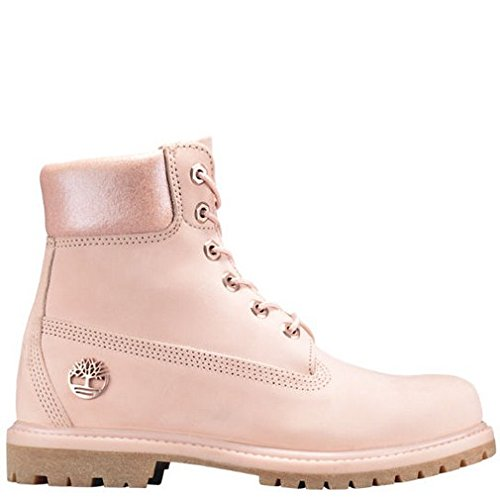 Timberland Women's 6″ Premium Boot Light Pink Nubuck/Metallic Collar 8 B US