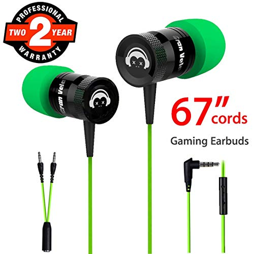 Gaming Earbuds, Noise Isolating Stereo Heavy Bass in Ear Headphones with Microphone 67 Inch Long Cords PC Adapter Gaming Headset Earphones for Computer, PC, PS4, Xbox One, Switch, Mobile Devices