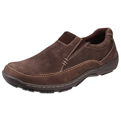 Leather Cotswold On Slip Casual Twyning Shoes Loafer Kaffee Mens IwqwS4Wg