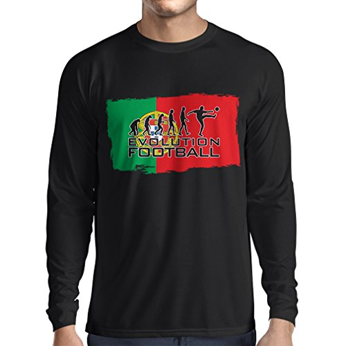 fan products of lepni.me N4475L Long Sleeve t Shirt Men Evolution Football - Portugal (Large Black Multi Color)