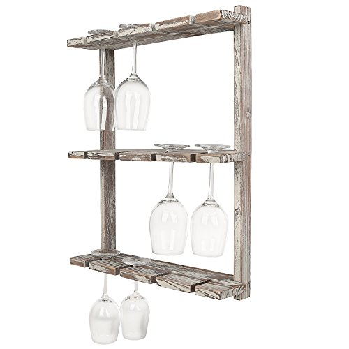 (MyGift Distressed Barnwood Brown Wall Mounted 12 Wine Glass Holder Rack, Inverted Stemware Display)