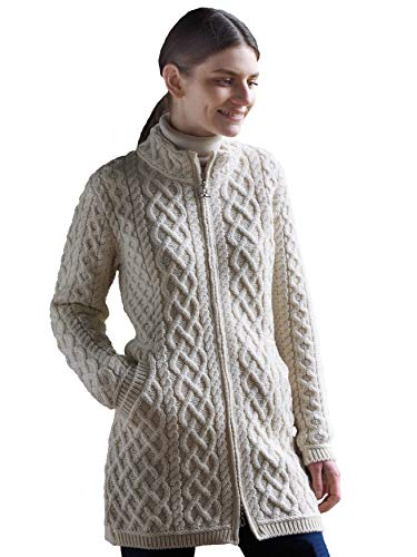 Aran Crafts Merino Wool Long Plated Coat XXL Natural (Z4688-XXL-NAT)