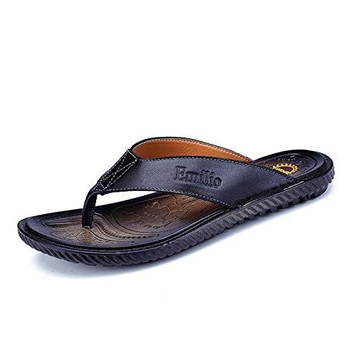 Sommer Fashion Freizeit Rindsleder Flip Flops Sehne unten Flip Flops Sandalen Männer Sandalen, schwarz, UK = 6, EU = 39