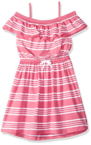 Little Girl Dresses Size 8 (Nautica Girls' Off Shoulder Fashion Dress stripe bright pink)