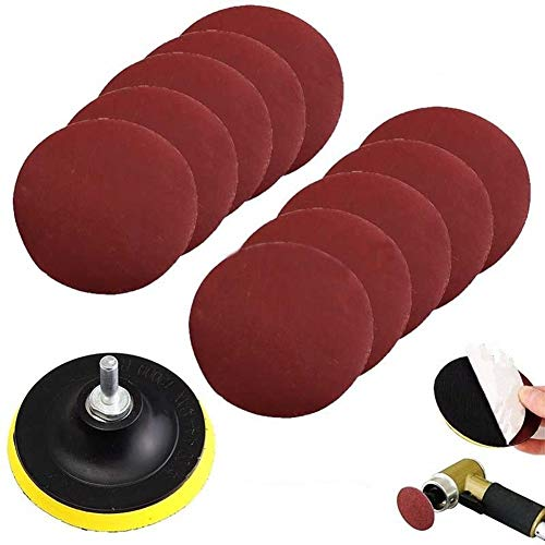 Ants-Store - 10Pcs/Set Polishing Pad Sanding Disc Sander 1000 Grits 4 inch Hook Loop Sanding Backer Pad + Shank Kit Cleaning Tool
