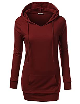 J.TOMSON Womens Solid Long Sleeve Pullover Hoodie XS-4XL (18 Colors)
