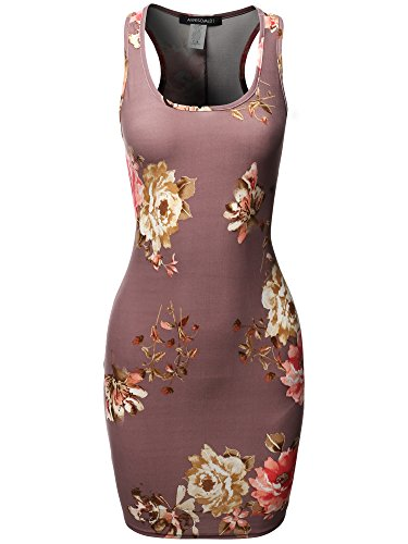 Floral or Camouflage Printed Sexy Body-Con Racer-Back Dress Purple 2XL (Jersey Dress Printed Scoop Neck Stretch)