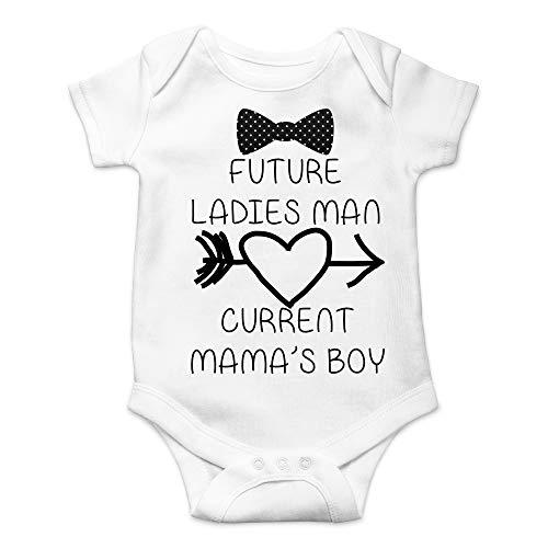 - CBTwear Future Ladies Man Current Mama's Boy Funny Romper Cute Novelty Infant One-Piece Baby Bodysuit (Newborn, White)