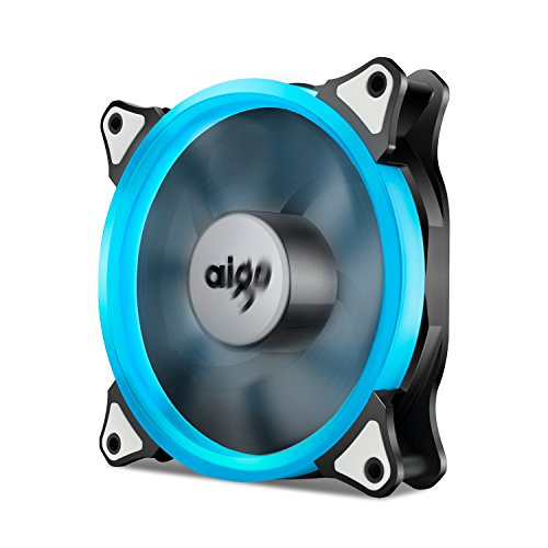 Aigo, Halo Ring LED 120mm 12cm PC CPU Computer Case Cooling Neon Quite Clear Fan Mod 4 Pin/3 Pin (120mm, Ice Blue) ()