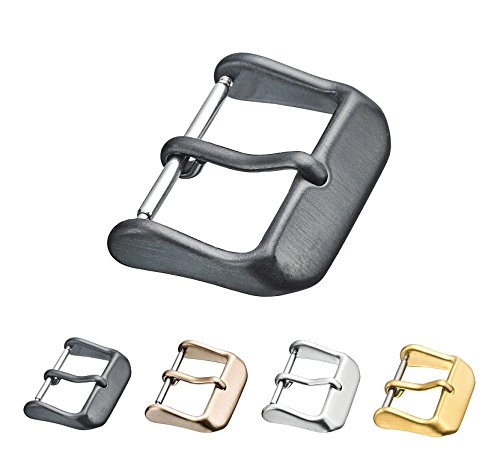 Replacement Steel Buckle for Watch Bands - Leather Watch Straps Clasp in Black - 20 mm
