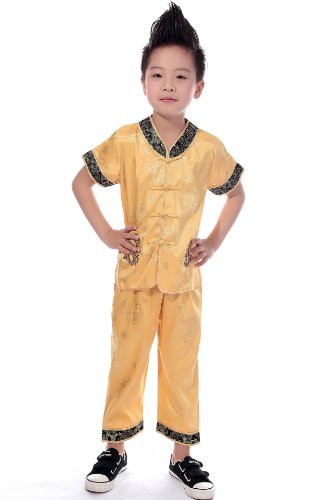 AvaCostume Chinese Dragon Embroidery Tang Suit Outfit for Boys, 5, - Fu Pants Chinese Kung Clothes