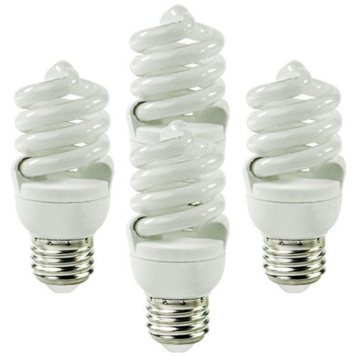 Satco S6235 13 Watt T2 Ultra Mini Spiral 2700K Soft White Compact Fluorescent Light Bulbs - 4 per Package (60 Watt - Satco Compact
