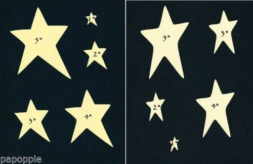 OutletBestSelling Stencil Primitive Stars 2 Different Styles 5 Sizes Country Folk Art Paint ()