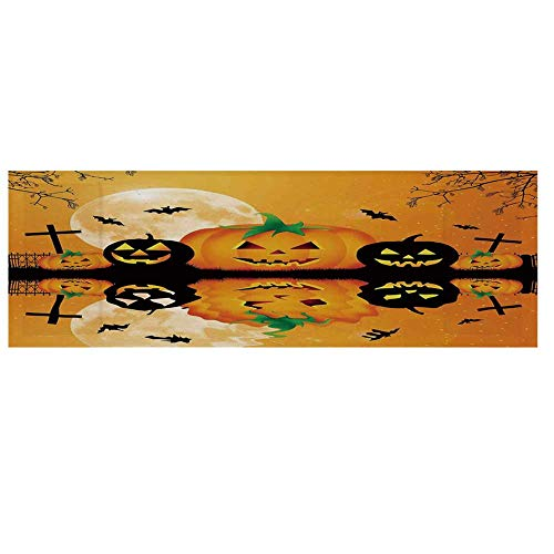 Halloween Decorations Cotton & Linen Microwave Oven Protective Cover,Spooky Carved Halloween Pumpkin Full Moon with Bats and Grave Lake Cover for Kitchen,36