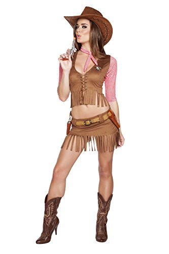 Sexy Country Cowgirl Costumes (Roma Costume Women's 6 Piece Lil' Country Cutie, Brown,)