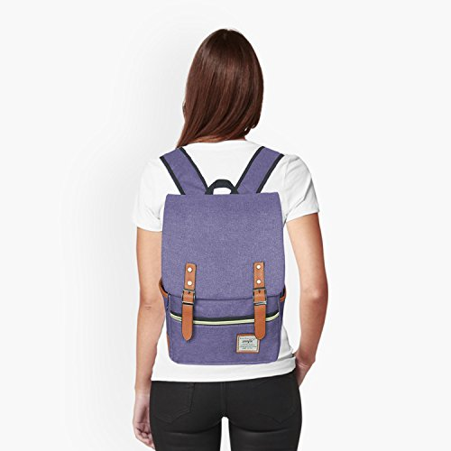 Canvas Backpack - Lightweight Laptop Backpack, Vintage Travel Backpack with Laptop Sleeve, Campus Backpack with Side Pockets Canvas Rucksack for School Working Hiking (purple) by GoTravel2 (Image #2)