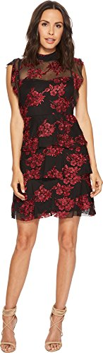 Romeo & Juliet Couture Women's Flower Lace Dress w/Sheer Detail Black/Red Small (Dresses Romeo Couture Juliet)