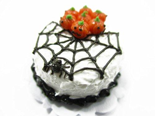 Dollhouse Miniature Halloween Cake 2 cm Spider Web Pumpkin Seasonal 13975 -