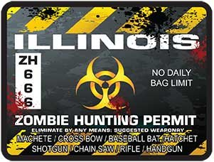 REFLECTIVE Illinois Zombie Hunting Permit Decal Danger Zone Style