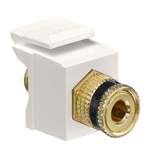 (Leviton 40833-BTE QuickPort Binding Post Adapter with Black Stripe, Light Almond)
