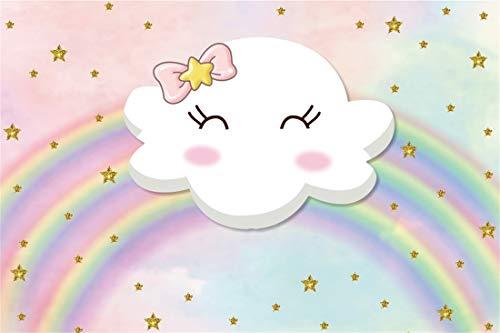 Yeele 7x5ft Photography Backdrop Cartoon Cute Smile White Cloud Rainbow Gold Stars Background Girl Birthday Baby Shower Party Decoration Children Kids Photo Booth Shoot Vinyl Studio -
