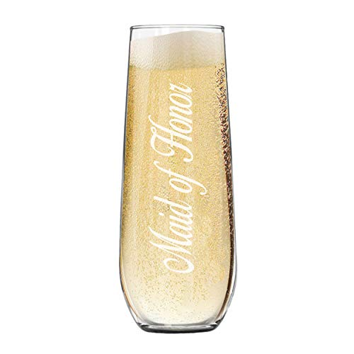 My Personal Memories Engraved Stemless Champagne Flute Glasses for Weddings, Bachelorette, Bachelor, Reception, Parties (Maid of Honor - 8.5 oz)